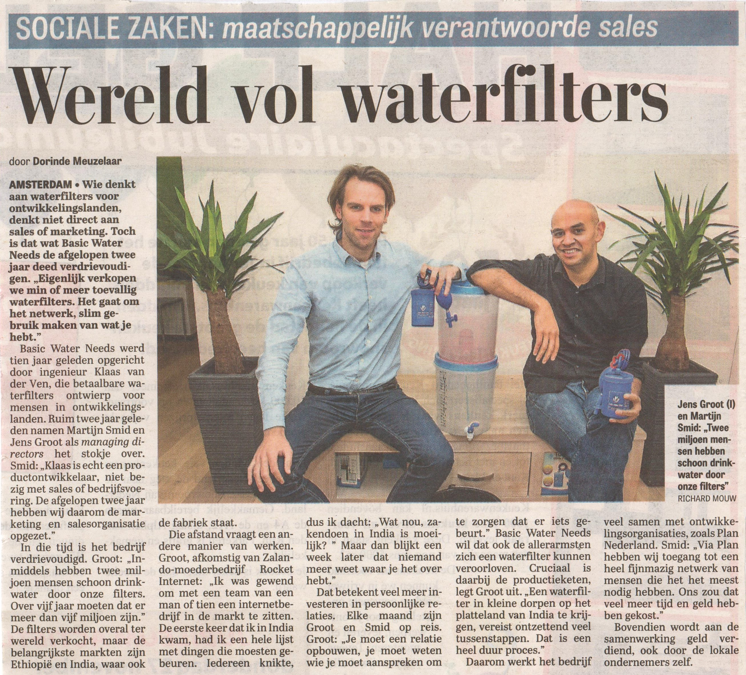 Artikel Telegraaf 27-11-2014